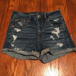 AE hi-rise shortie denim jean shorts
